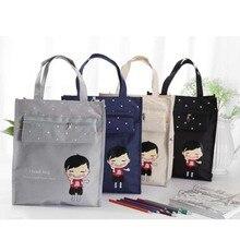 Cartoon Review Bag Student Cloth Art Portable Study Bag Student Tutorial Bag Random Pattern 1pc