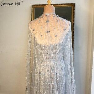 Image 5 - גריי בת ים שרוולים צעיף חוט ערב שמלות 2020 דובאי יוקרה ואגלי קריסטל פורמליות שמלת Serene היל LA70399
