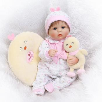 Lovely Lifelike Reborn Baby Toddler Silicone + Cotton Reborn Baby Doll Toys For Children Creative Gift About 42cm