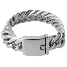 Granny Chic Double Curb Cuban Chain Bracelet Mens 316L Stainless Steel Wristband Bangle Silver Tone 16mm Buddha