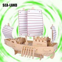 купить Assembled IQ Puzzle 3D Wooden Toys Children The Russian Ship Model 3D Wood Puzzles 94 Pcs Educational Diy Toys Gift For Children дешево