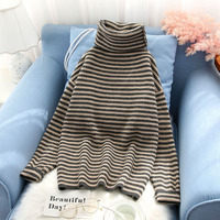 turtleneck striped women sweater and pullovers loose slim thicken warm lady elegant pulls all match outwear coat tops