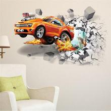 3D Creative car wall stickers wall break Racing Car Wall paper Vinyl Mural Wall Art Decal for Boy bedroom living room Home Decor vinyl wall stickers formula one racing sports car enthusiasts youth room shool dormitory home decoration wall decal 2ce15