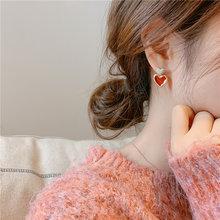 Женские серьги гвоздики lifefontier корейские с красной эмалью