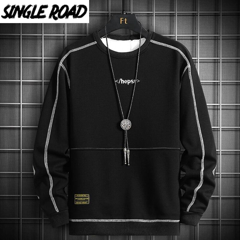 SingleRoad Crewneck Sweatshirt Men 2020 Side Striped Oversized Japanese Streetwear Hip Hop Black Hoodie Men Sweatshirts Hoodies