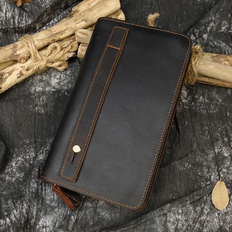 MAHEU-portefeuille à main Vintage, Long unisexe, pochette avec fermeture éclair intérieure, portefeuille pour téléphone en espèces, nouvelle collection