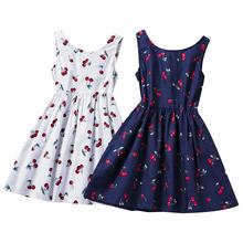 Fashion Summer Kid Girls Casual Dress Cotton Cherry Print Round Neck Sleeveless Back Bowknot Sun Dress Vest One-Piece Costume fashionable women s bowknot decorated sleeveless pink round neck dress