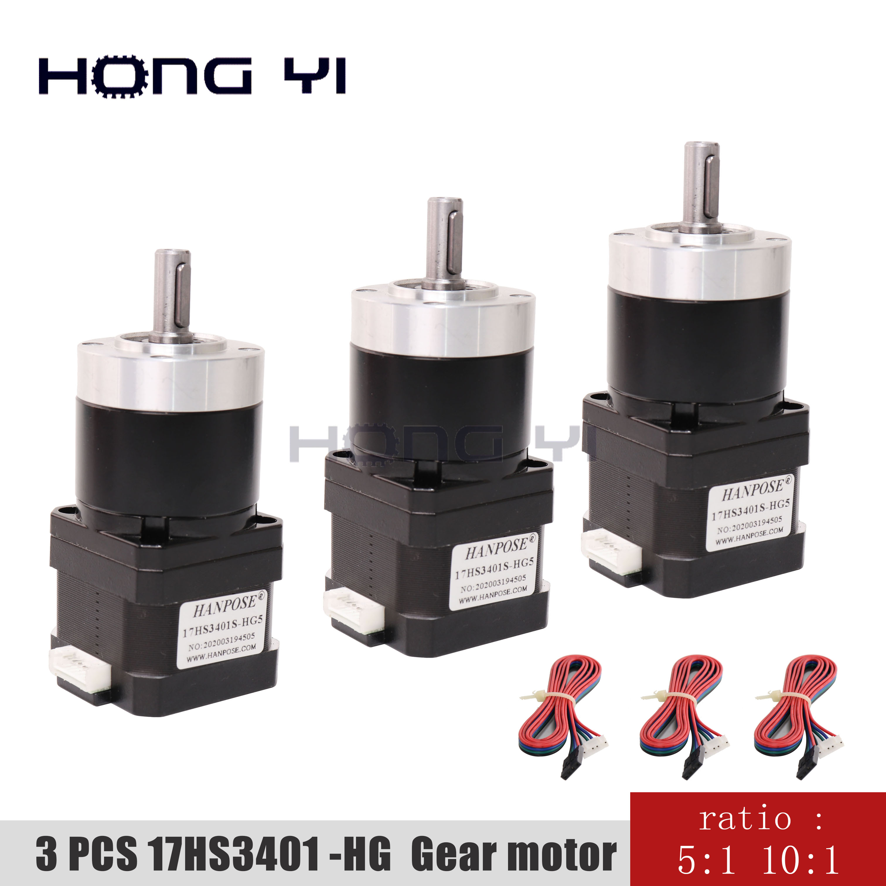 3PCS 17HS3401S-HG 5-1 10-1Gear ratio Planetary Gearbox stepper motor <font><b>Nema17</b></font> High precision reduction motor 3d printer motor image