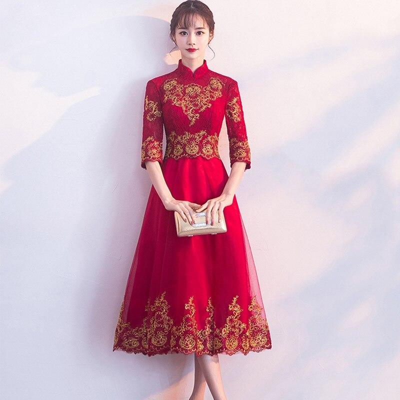 2020 Hot Sale V-neck Full Gengli Little Man Toasts Bride 2020 Wedding New Female Modern Slim Chinese Show Kimono Dress Autumn