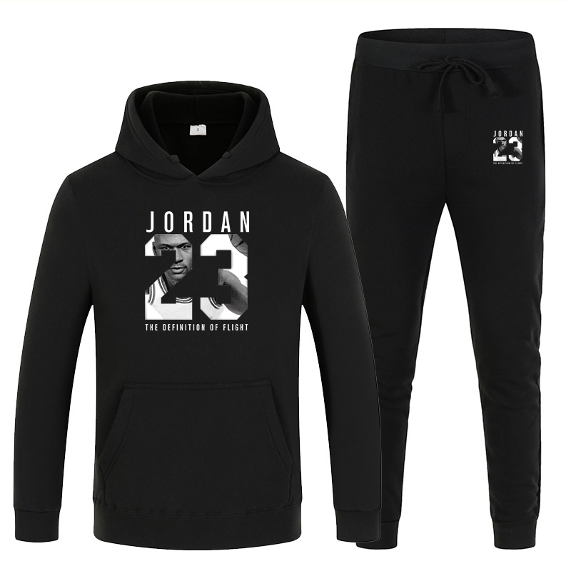 Winter Men's And Women's Unisex 2-piece Hooded Trousers Printed Sportswear Hedging Track And Field Sports Shirt Trousers Two-pie