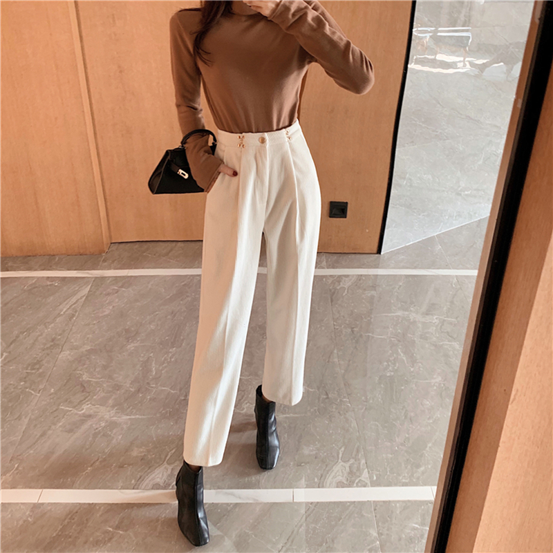 New Women's Harem Pants Spring  Corduroy High Waist Pants Casual Pants Vintage Slim Trousers Female