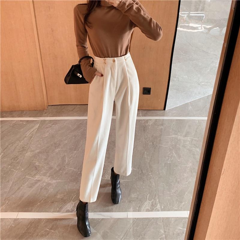 New Women's Harem Pants Spring  Corduroy High Waist Pants Casual Pants Vintage Slim Trousers Female