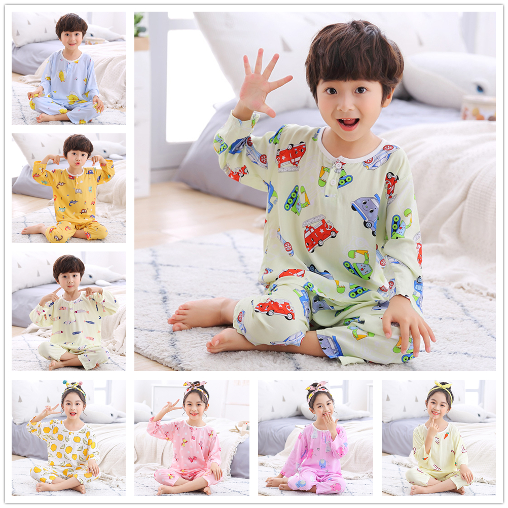 Baby Boys Girls 3/4 Sleeves Shirt Full Length Pants Pajama Sets Kids Home Wearing Air-conditioned Clothing Children Sleepwear