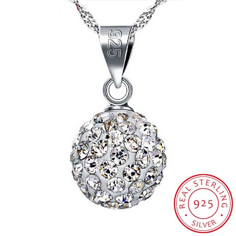 Promotion 925 Sterling Silver Necklace Female Short Design 10mm/12mm Rhinestone Ball Chain Elegant Anti-allergic Drop Shipping