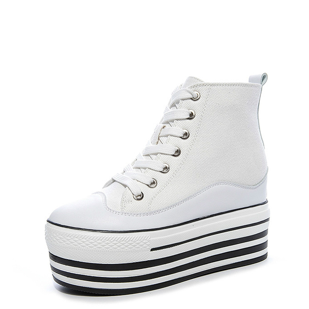 New Female High-top Sneakers Wedges Vulcanized Canvas Shoes fashion Woman Platform Shoes Height Increasing Casual Shoes M1-105