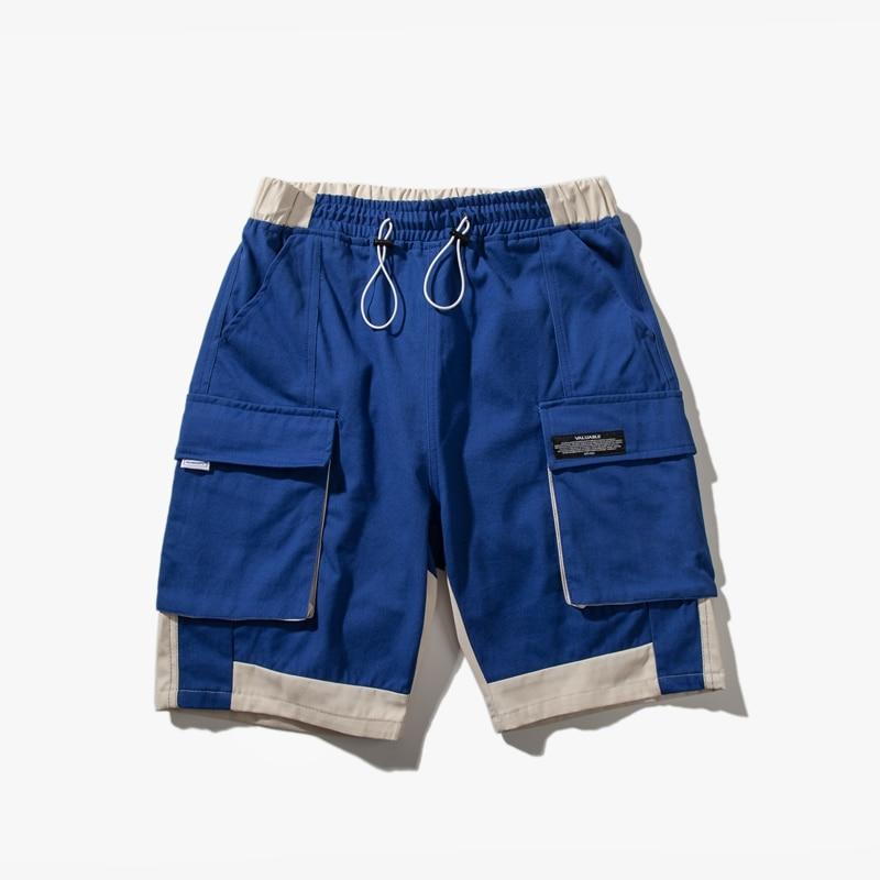 Color Block Men Cargo Shorts Pocket Green Red Blue Twill Chino