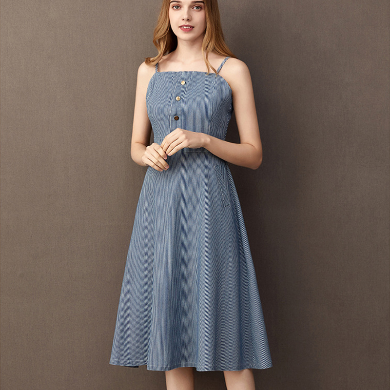 Elegant Women's Spaghetti Strap Striped A Line Denim Dress for Summer 2020 Sleeveless Streetwear Chic Buttons Skater Jeans Dress(China)