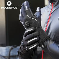 ROCKBROS Adjusatble Cycling Gloves Reflective Screen Touch Warm MTB Bike Gloves Outdoor Waterproof Motorcycle Bicycle Gloves