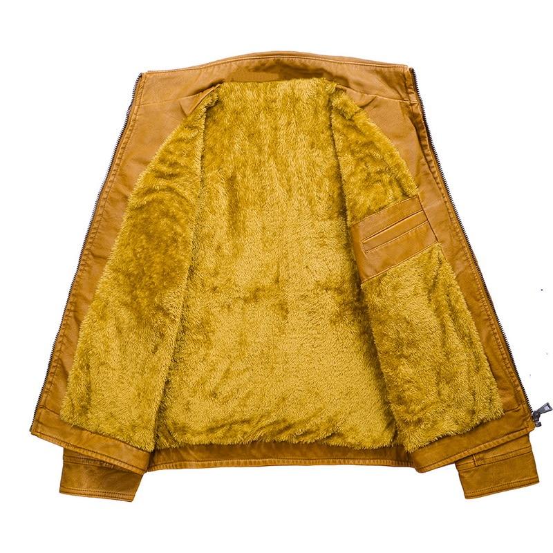 H6fbf00499d0044c2a78aec57a1fa32afX Luxury 2019 Leather Jackets Men Autumn Fleece Zipper Chaqueta Cuero Hombre Pockets Moto Jaqueta Masculino Couro Slim Warm Coat