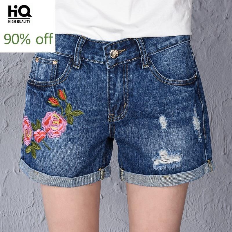 Summer 2020 Korean Fashion Femme Jeans Short Hole Ripped Embroidery Flower Zipper Women's Denim Trousers Vintage Cotton Shorts