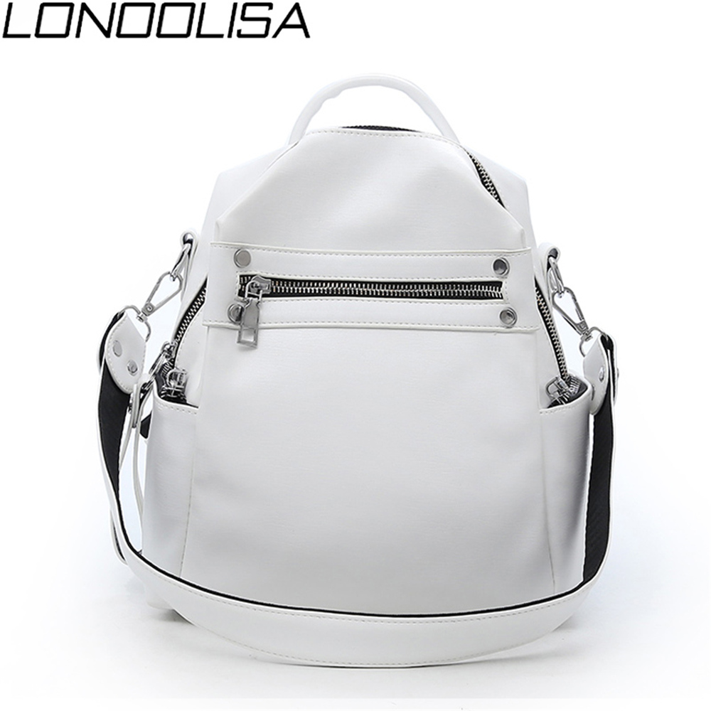 Fashion Women Soft Leather Small Backpack Designers Brand Multifunction Solid School Bags For Teenage Girls Mochila Feminina