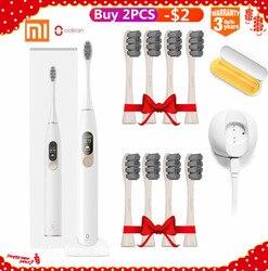 Xiaomi mijia oclean x sonic escova de dentes elétrica + 8 pcs cabeças atualizado à prova dwaterproof água ultra sonic oclean x escova de dentes usb recarregável
