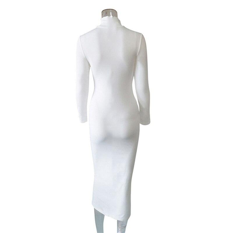 Sexy Women Dress Long Sleeve Bodycon Turtleneck Autumn Winter Basic Red Black White Slim Long Dress Casual - dresses
