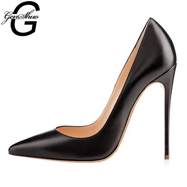 GENSHUO Sexy Nude Heels Pumps For Women 12CM High Heels Shoes Woman Stiletto Pointed Toe Womens Shoes Sexy Party Wedding Shoes