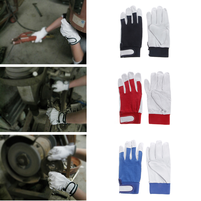 1Pair Pigskin Leather Gloves Wear Resistant Driving Working Repair Safe Gloves DXAA
