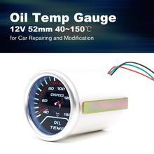 CNSPEED 12V Auto Car LED Digital Oil Temp Gauge Meter 52mm Smoke Lens Temperature Gauge Universal For Car Modification