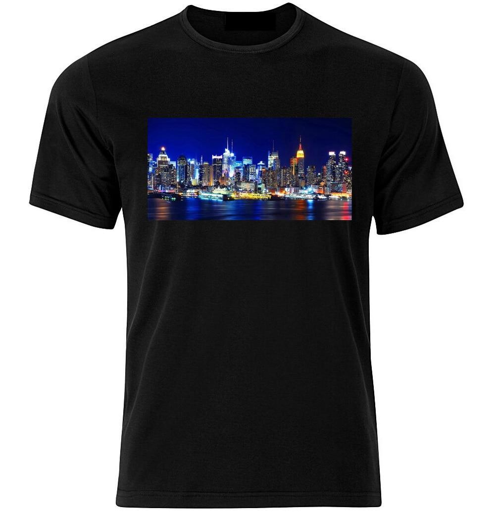 New York City At Night Graphic Cotton T Shirt Short /& Long Sleeve