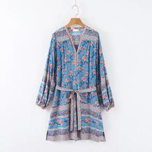 Long Sleeve Boho Dress Bohemian Dresses Hippie Blue Floral Hippie Chic Mexican Dress Boho Dress Women Hippie Clothing D7284 женские часы orient ut0j002w
