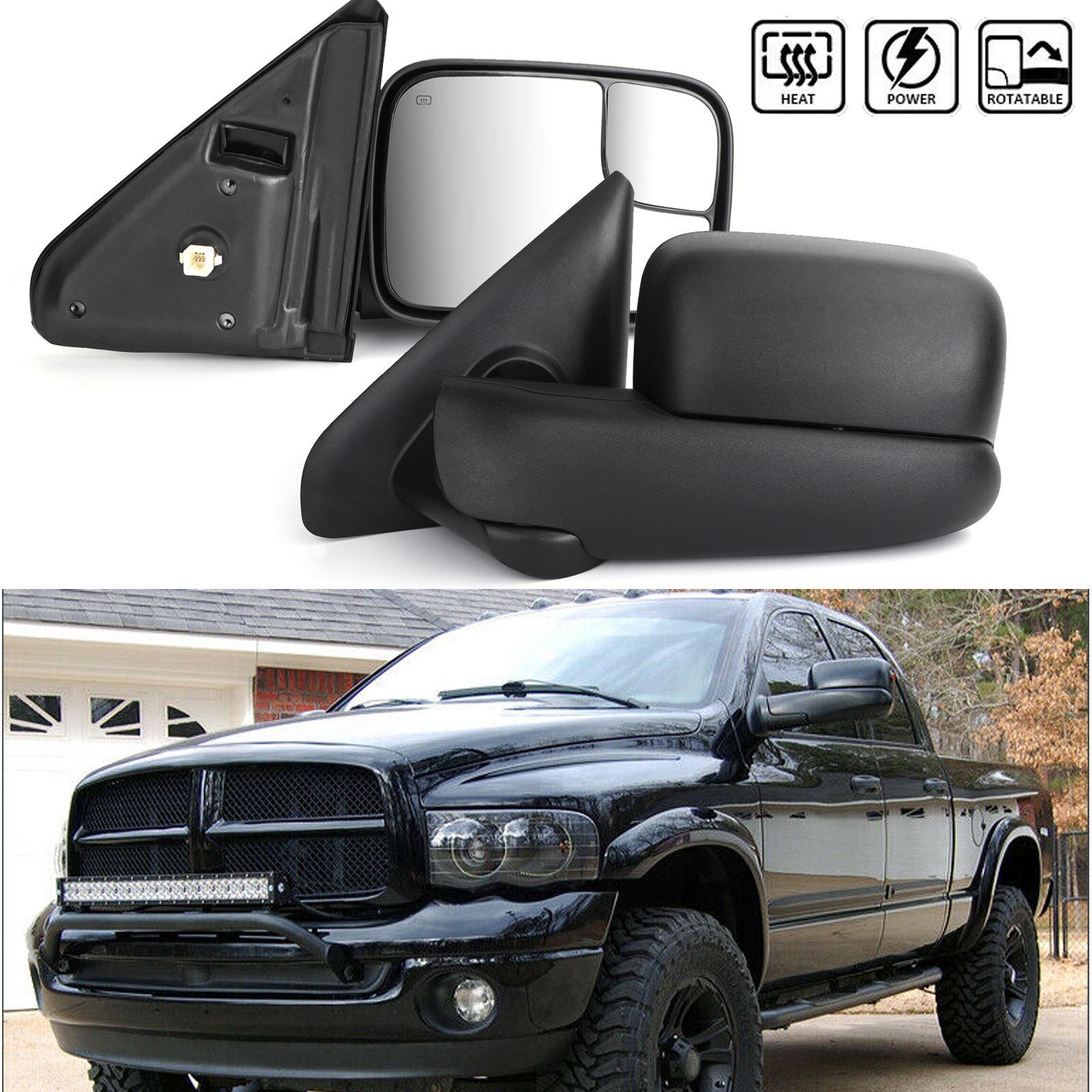 2013-2015 Dodge Ram 1500 2500 Power+Heated Flip Up Towing Mirrors w//LED Puddle