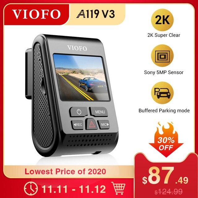 Viofo A119 V3 2 18k 60fps車のダッシュカムスーパーナイトビジョンクワッドhd 2560*1440 1080p車dvr駐車場モードgセンサーオプションのgps