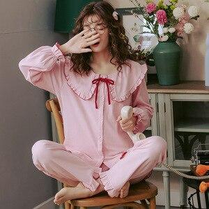 Image 2 - 2019 outono inverno conjuntos de pijamas femininos flor impressão luxo feminino duas peças camisas + calças camisola macio bonito rosa pijamas