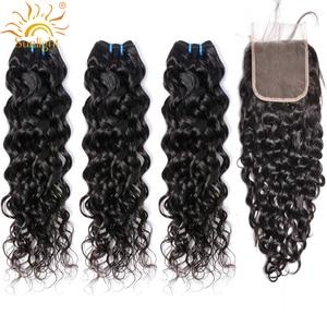 Brazilian Water Wave Bundles With Closure Sunlight Hair Weave Bundles With Closure Non Remy Human Hair 3 4 Bundles With Closure
