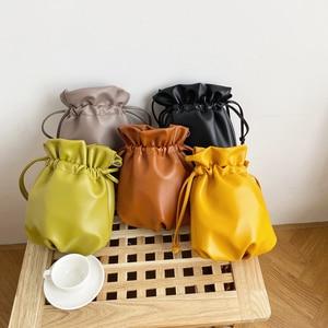 Image 1 - 2020 New Women Bag PU Leather Youth Drawstring Bucket Bag Japan Lucky Bag Ladies Handbag Small Crossbody Shoulder Bag Whole Sale