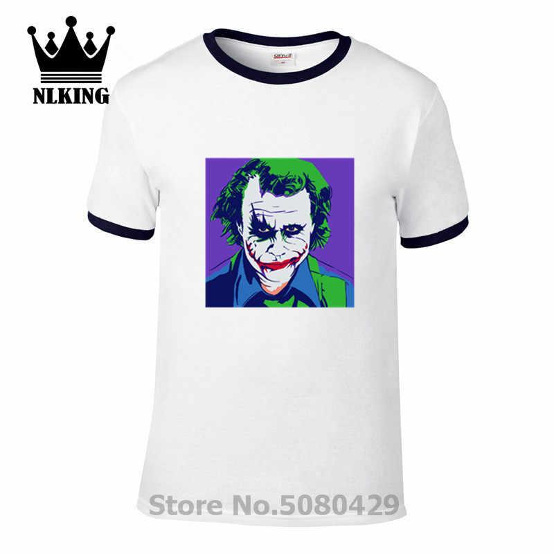 Популярная художественная футболка с коротким рукавом warhol Мужская фиолетовая Джокер Хит Леджер Готэм Злодеи комиксы Повседневная футболка футболки хип хоп
