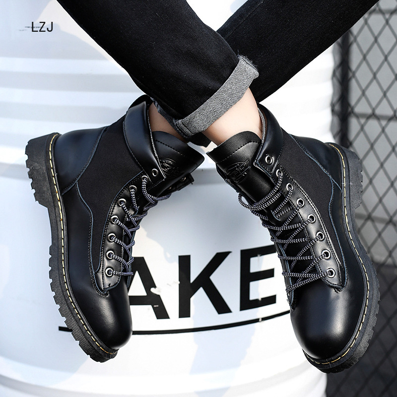 US $15.99 45% OFF LZJ 2019 Autumn And Winter New Men's Boots Leather Face War Wolf Desert Martin Boots In The High Help England Boots in Basic Boots