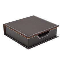 Leather Memo Box Office School Supplies Desk Accessories Organizer Card Holder Note Holder Sticky Note Storage Box Brown sodial r safe memo holder spike stick for bill receipt note paper order office desk
