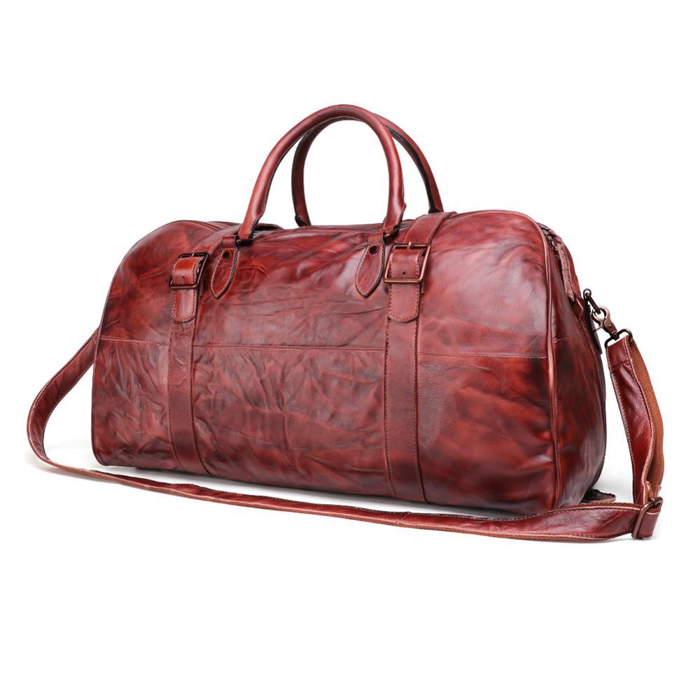 Men's Travel Bag Genuine Leather Handbag For Men Businnes Bag Luggage Weekend Tote Travel Bag Large Capacity Handbag