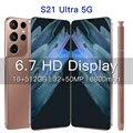 Новая версия S21 + Ультра 5G 7,3 дюймовый смартфон 6800 мА/ч, разблокировать глобальная версия 24MP + 48MP 12 Гб + 512 Гб мобильные телефоны