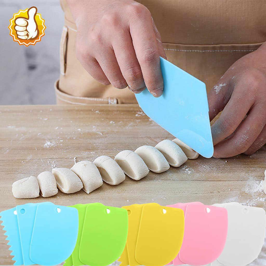 ใบมีดขูด 3pcs Dough น้ำแข็งแป้ง Fondant มีดโกนชุดตกแต่งเค้กครีมขูดเค้กตัดขูดมีดสำหรับห้องครัว