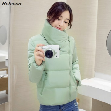 Stand collar 2019 winter   jacket   women's three-dimensional fashion women's   basic     jacket   autumn short   jacket
