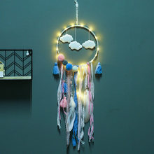 อินเดีย Boho Feathers Lace PomPoms Dream Catcher Teepee (China)