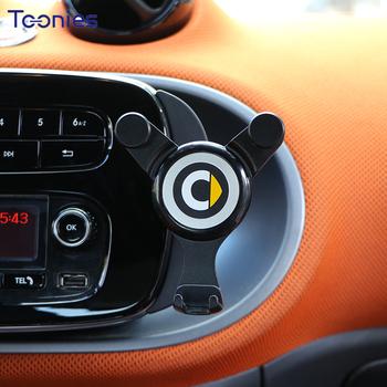 Uchwyt na telefon komórkowy do samochodu uchwyt do nawigacji uchwyt grawitacyjny do mercedesa Smart 450 451 453 Fortwo Forfour wewnętrzna podstawka ładująca tanie i dobre opinie TOONIES CN (pochodzenie) Black plastic