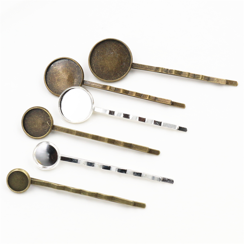 8 10 12 14 16 18 20mm 10pcs High Quality  Bronze Plated Copper Material Hairpin Hair Clips Hairpin Base Setting Cabochon Cameo