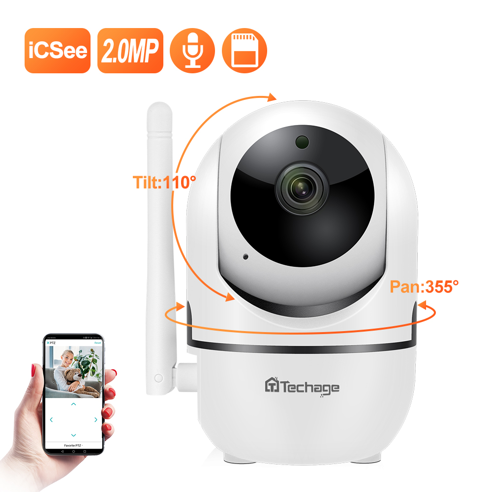 Techgae 1080P HD  Baby P2PMonitor Cloud  Mini IP Camera CCTV  WiFi  Wireless Auto MotionTrackingVideo Security Surveillance