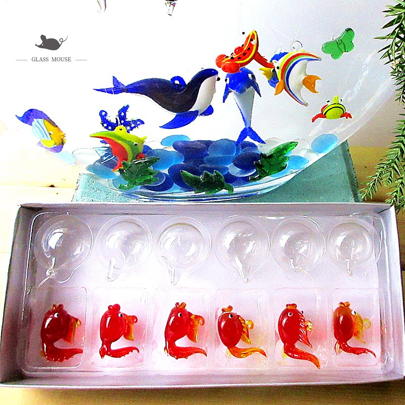 Small Glass Animal Sea crab handmade Miniatures Figurines decor handmade