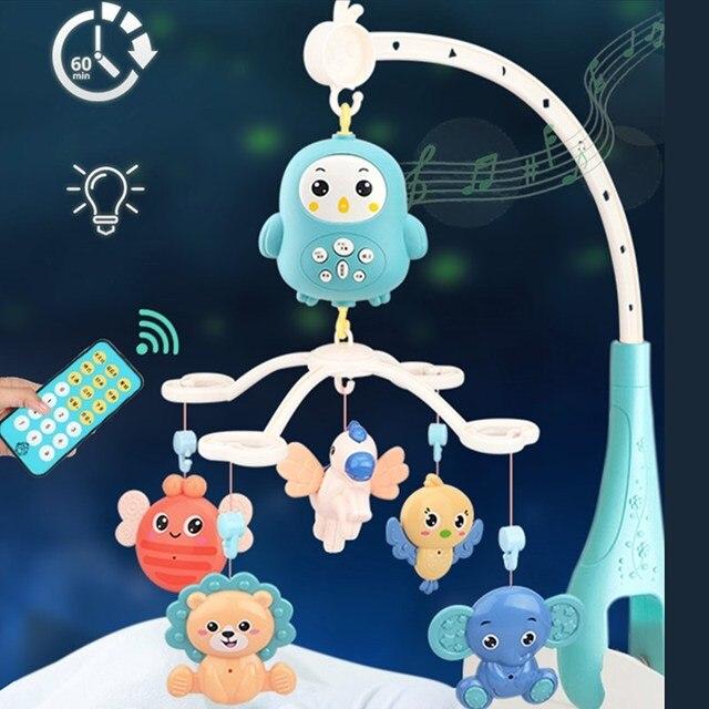 4305 conteúdos berço móvel cama sino com música e controle remoto aprendizagem precoce crianças brinquedo bebê chocalho infantil brinquedos para 0 12 meses